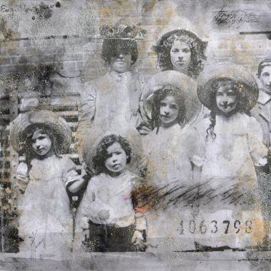 « Une famille anglaise ». Techniques mixtes sur papier. 30x40 cm.