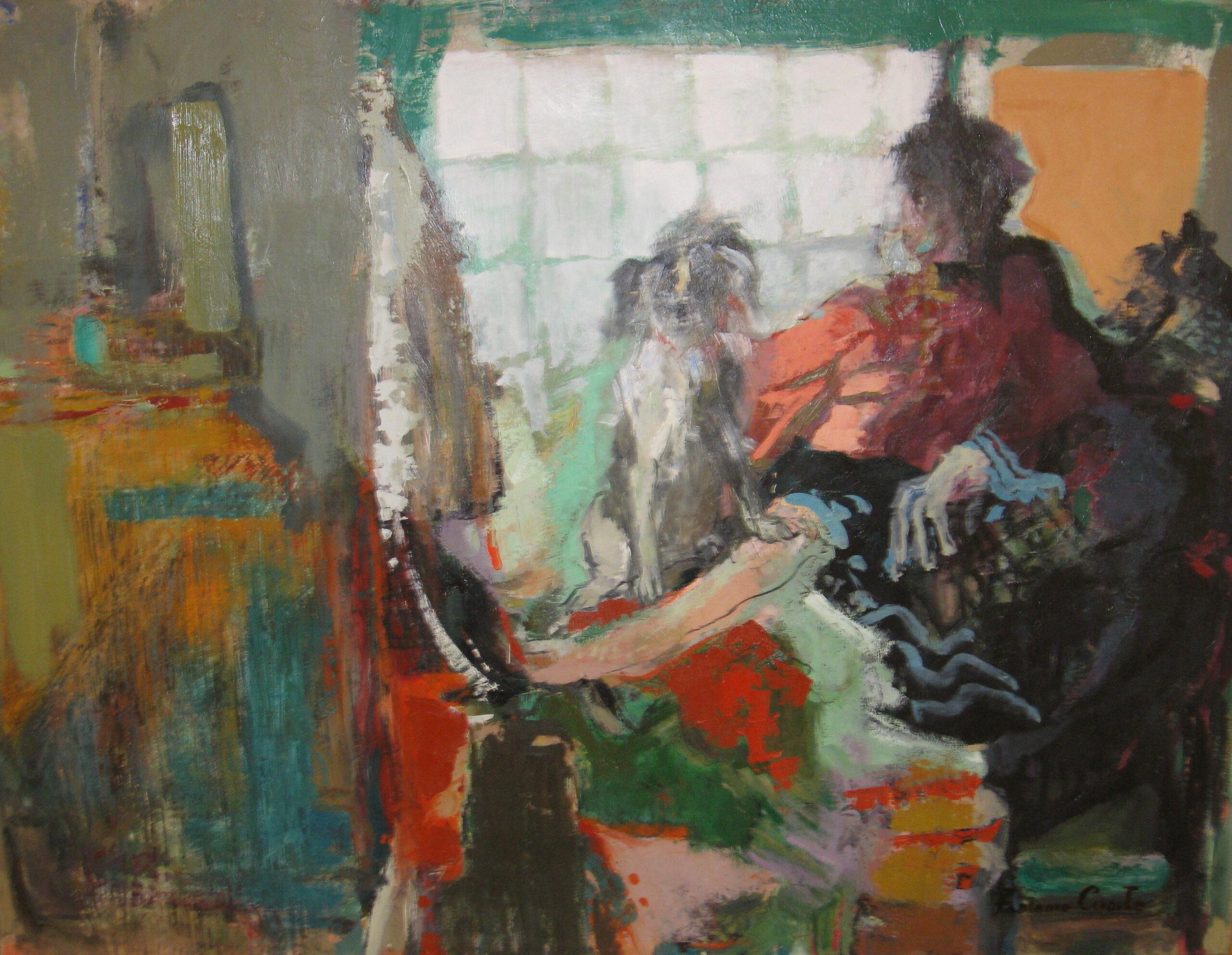 le shampoing - Fabienne COMTE - 160x120 - Huile sur toile